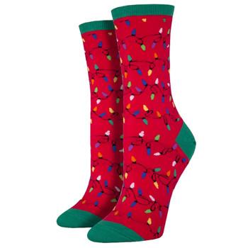 Women's Crew Socks Holiday Christmas Lights Red
