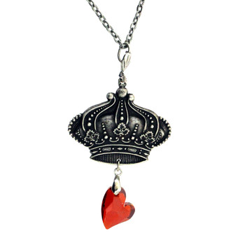 Crown necklace with red heart crystal.