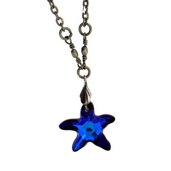 "18"" Vintage Antiqued Style Silver Plated Blue Swarovski Starfish Pendant Necklace"