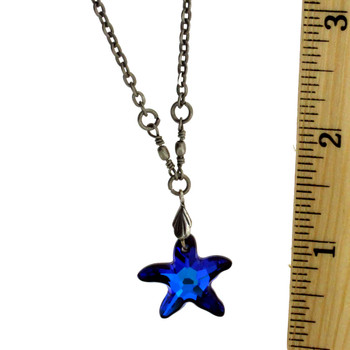 """18"""" Vintage Antiqued Style Silver Plated Blue Swarovski Starfish Pendant Necklace"""