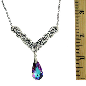 "18"" Vintage Antiqued Style Silver Plated Romantic Corner Pendant Necklace with Purple Faceted Teardrop Swarovski Crystal"