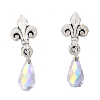 Victorian Fleur de Lis Earrings Silver Plated with Clear Swarovski Crystals