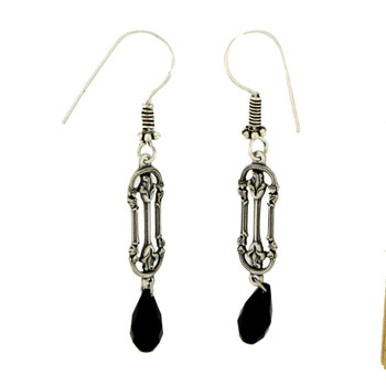 Victorian Style Flower Clusters Long Dangle Earrings Silver Plated with Black Swarovski  Briolette Crystals