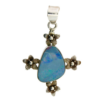 Sterling Silver Blue Opal Pendant with Flowers