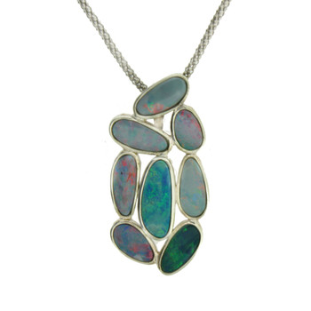 Sterling Silver Blue Multi Stone Opal Pendant