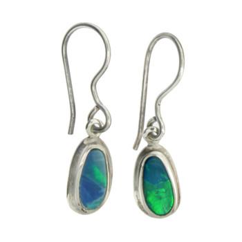 Small Simple Blue Green Opal Dangle Earrings Sterling Silver Jewelry