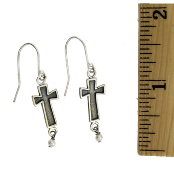 Cross and White Pearl Earrings Sterling Silver Jewelry