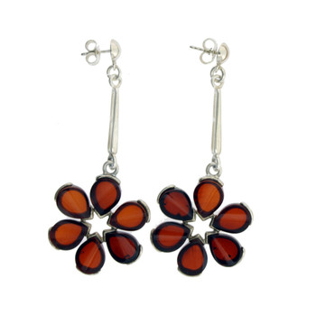 Amber Flower Dangle Earrings Sterling Silver