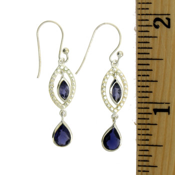 Sterling Silver Purple Iolite Dangle Earrings Jewelry
