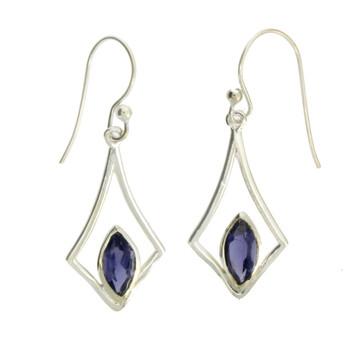 Purple Iolite Dangle Earrings Sterling Silver Jewelry