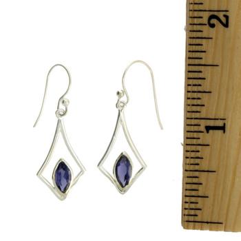 Purple Iolite Dangle Earrings Sterling Silver Jewelry Dangle