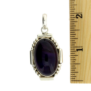 Large Oval Cabochon Amethyst Pendant Sterling Silver