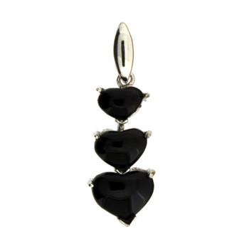 3 Hearts Black Onyx Sterling Silver Pendant
