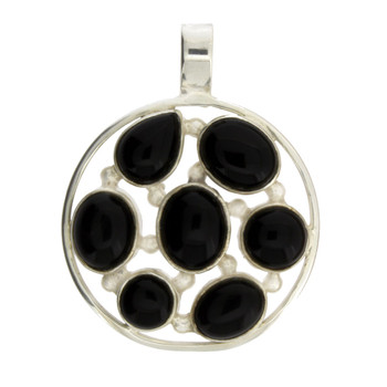 Round Multi Stone Black Onyx Sterling Silver Pendant