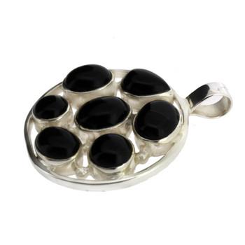 Round 7 Stone Black Onyx Sterling Silver Pendant
