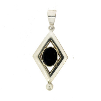 Oval Cabochon Stone Black Onyx Sterling Silver Pendant