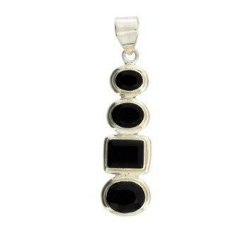 Four Faceted Stone Black Onyx Sterling Silver Pendant