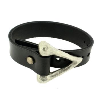Hammered silver pewter bracelet.