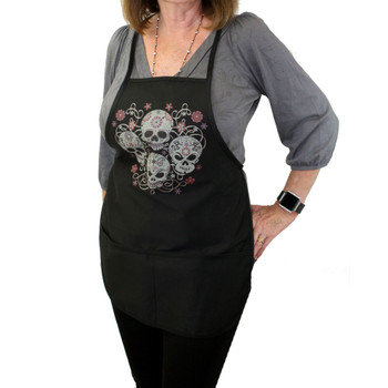 Black Apron with Four Day of the Dead Sugar Skulls