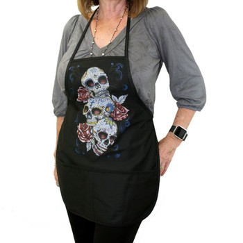 Black Apron with Three Day of the Dead Skulls and Roses Design