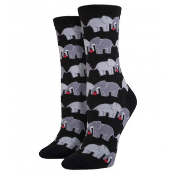 Women's Crew Socks Elephant Love Black