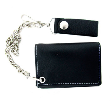 Men's Biker Black Soft Leather with White Stitch Chain Wallet Trifold Billfold