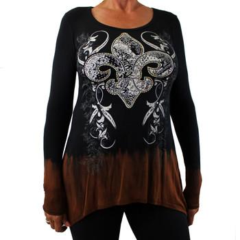 Women's Vocal Black and Brown Shirt Long Sleeve Embellished Fleur de Lis Design