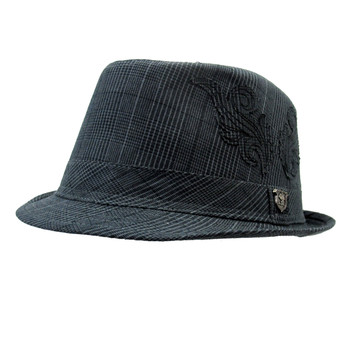 Gray plaid Fedora hat front side.