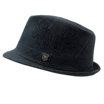 Gray plaid Fedora hat side view.
