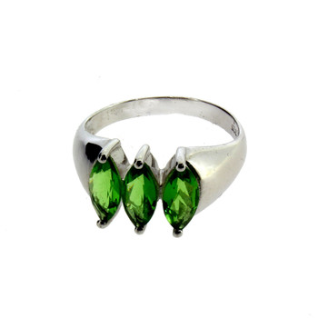 Three Faceted Stone Green Helenite Sterling Silver Ring