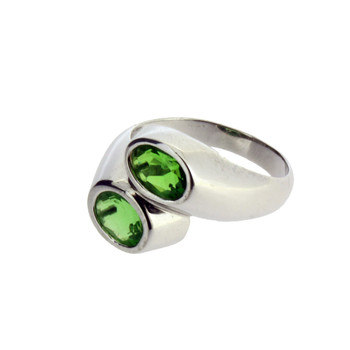 Two Oval Faceted Stone Green Helenite Sterling Silver Ring