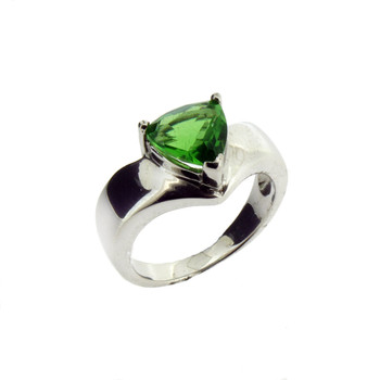 Triangle Shaped Stone Green Helenite Sterling Silver Ring