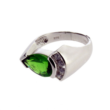 Green Helenite and CZ Sterling Silver Ring