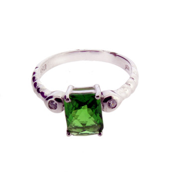 Faceted Green Helenite and CZ Sterling Silver Ring