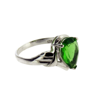 Pear Shaped Stone Green Helenite Sterling Silver Ring