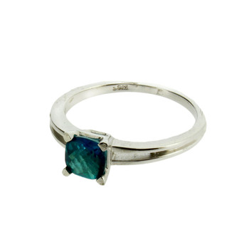 Small Ocean Blue Green Topaz Sterling Silver Ring