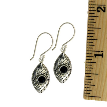 Sterling Silver Black Onyx Dangle Earrings with ruler.