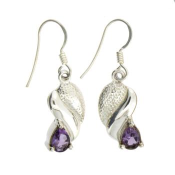 Purple Amethyst Dangle Earrings Sterling Silver Jewelry
