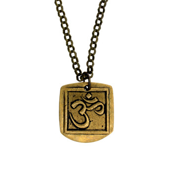 """Gold Metal OM Pendant with Brown with 22"""" Bronze Necklace"""