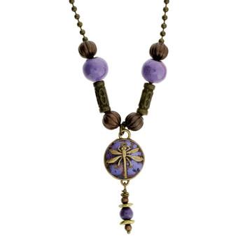 Purple Enamel Gold Metal Dragonfly Pendant Necklace