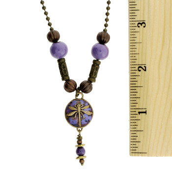Purple Enamel Gold Metal Dragonfly Pendant Necklace with ruler.