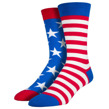 Men's Crew Socks USA American Flag Stars and Stripes Blue