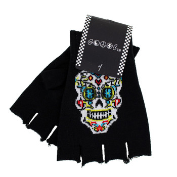 Black Knitted Fingerless Gloves withe Day of the Dead