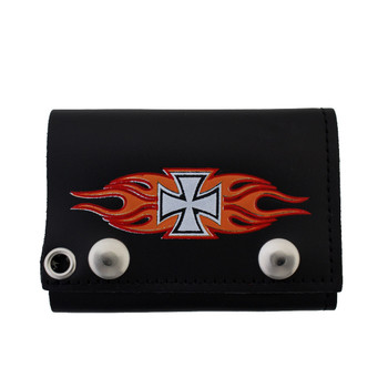 Men's Biker Black Leather Chain Wallet Trifold with Iron Cross Flame Design