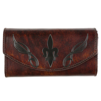 Women's Brown Leather Wallet Checkbook Style with Embossed Fleur de Lis