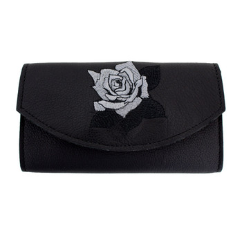 Women's Wallet Black Leather with Embroidered Roses Checkbook Style Pocketbook