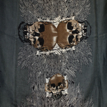 Gray and Brown Skull Design Scarf or Sarong