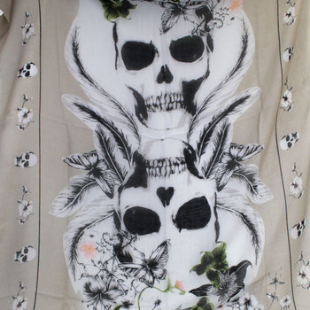 Tan and White Skull Design Scarf or Sarong