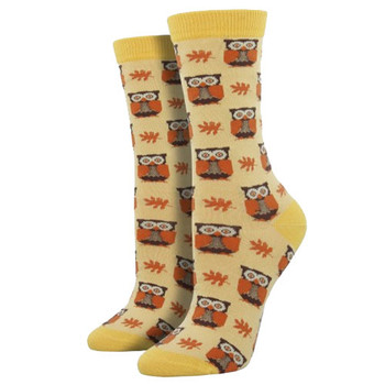 Women's Bamboo Crew Socks Woodland Owls Cornsilk Yellow
