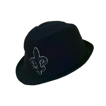 Black Fedora hat with Fleur de Lis front side .
